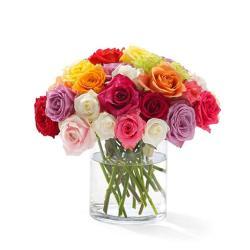 Dozen Roses In Glass Vase for Baroda
