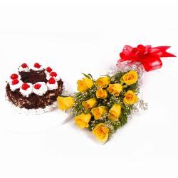 Dozen Yellow Roses with Eggless Black Forest Cake for Delhi