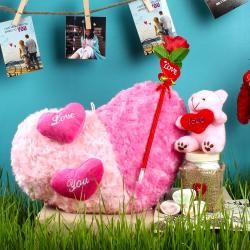 Dual Color Shades Heart Cushion with Artifical Rose and Teddy including Marshmallow for Raipur