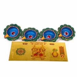 Earthen Diyas with Gold Plated Lakshmi Note for Pune