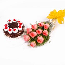 Eggless Black Forest Cake and Pink Roses Bouquet for Delhi
