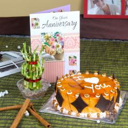 Eggless Butterscotch Cake with Good Luck Plant and Anniversary Card for Gandhinagar