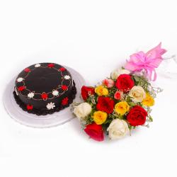 Eggless Chocolate Cake and Dozen Assorted Roses Bouquet for Bankura