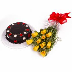 Eggless Chocolate Cake with 10 Yellow Roses Bunch for Bankura