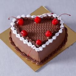 Eggless Chocolate Heart Shape Cherry Cake for Moradabad