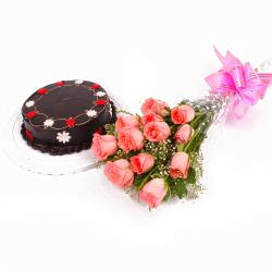 Eggless Half Kg Chocolate Cake with Pink Roses Bunch for Bankura