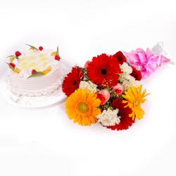 Eggless Pineapple Cake and Colorful Fresh Flowers for Bangalore