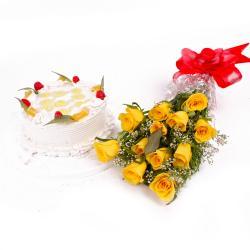 Eggless Pineapple Cake and Dozen Yellow Roses for Delhi