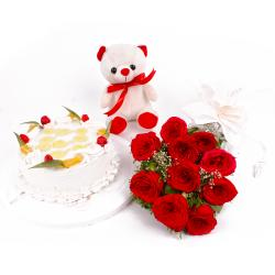 Eggless Pineapple Cake and Ten Red Roses with Teddy Bear for Dewas