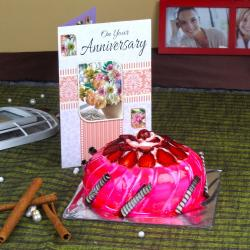 Eggless Strawberry Cake with Anniversary Greeting Card for Bhopal