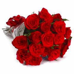 Eighteen Red Roses in Cellophane Wrapped Bunch for Asansol