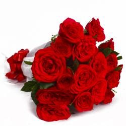 Eighteen Red Roses Paper Wrapping Bouquet for Ghaziabad