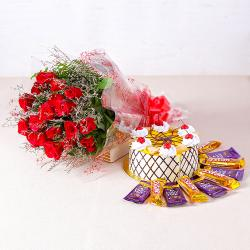 Eighteen Red Roses with Pineapple cake and Bars of chocolates for Gandhinagar
