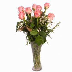 Elegant Vase of 10 Pink Roses for Ahmedabad