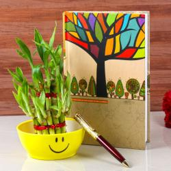 Exclusive Pen and Diary with Bamboo Plant for Asansol