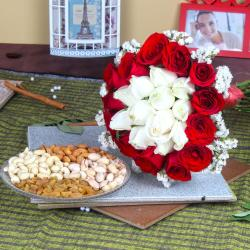 Exclusive Roses Bouquet with Assorted Dry Fruits for Chennai