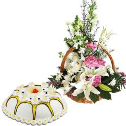 Exotic Flowers With Pineapple Cake for Raipur