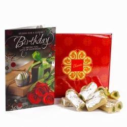 Exotic Kaju Pista Roll with Birthday Greeting Card for Cuttack