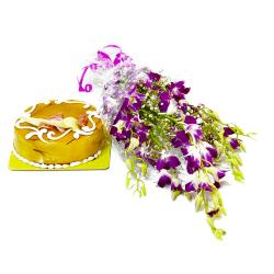 Exotic Orchids Bouquet and Butterscotch Cake for Dewas