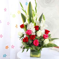 Exotic Vase Arrangement of Roses and Glads