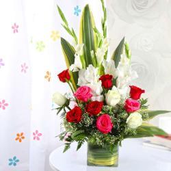 Exotic Vase Arrangement of Roses and Glads