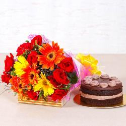 Fantastic Bright Floral Bouquet with Chocolate Creamy Cake for Agra