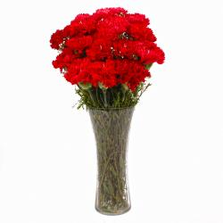 Fantastic Vase of 15 Red Carnations for Kolkata