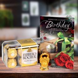 Ferrero Rocher Box, Birthday Card with Laughing Buddha for Baroda