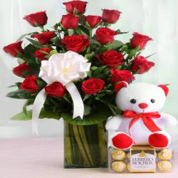 Ferrero Rocher Chocolate and Vase Arrangement of Red Roses with Teddy Bear for Agra
