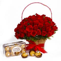 Ferrero Rocher Chocolate Box and 50 Red Roses Basket arranged for Dombivli