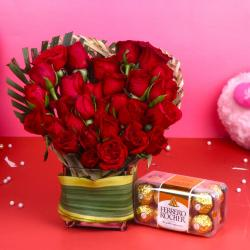 Ferrero Rocher Chocolate with Heart Shape Red Roses Arrangement for Chandigarh