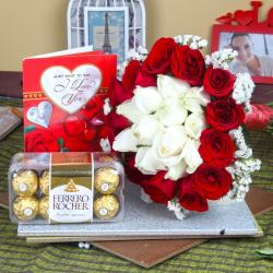 Ferrero Rocher Chocolate with Love Greeting Card and Roses Bouquet for Moradabad