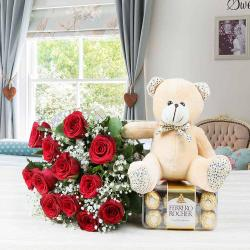 Ferrero Rocher Chocolate with Roses Bouquet and Teddy Bear for Moga