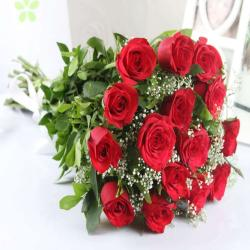 Fifteen Fresh Red Roses Bouquet for Bhopal
