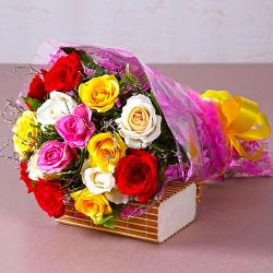 Fifteen Mix Roses Bouquet for Ghaziabad