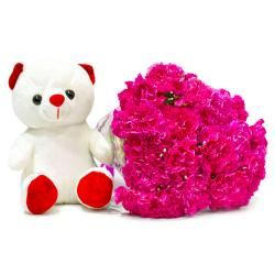 Fifteen Pink Carnations Bunch with Cuddly Bear for Gurgaon