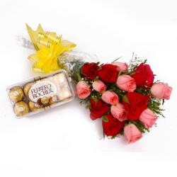Fifteen Red and Pink Roses and 16 pcs Ferrero Rocher Chocolates for Mumbai