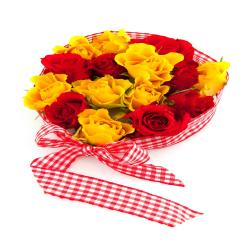 Fifteen Red And Yellow Roses Bouquet for Hyderabad