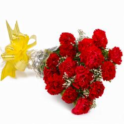 Fifteen Red Carnations Cellophane Wrapped Bunch for Chennai