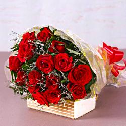 Fifteen Red Roses Bouquet for Delhi