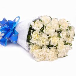 Fifteen White Carnations Tissue Wrapped for Gurgaon