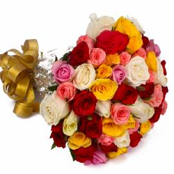 Fifty Multi Color Roses Round Bunch with Cellophane Packing for Ahmedabad
