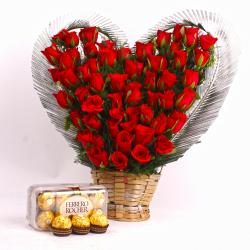 Fifty Red Roses Heart Shape arranged and Ferrero Rocher Chocolate Box for Mathura