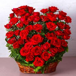 Fifty Red Roses Heart Shape Basket Arrangements for Rajahmundry