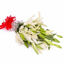 Five Stem of White Lilies in Cellophane Wrapping for Asansol