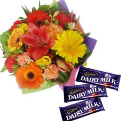 Floral Bouquet With Chocolates for Jaipur