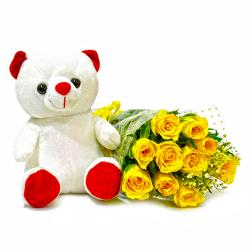 Forever 10 Yellow Roses with Cute Teddy Bear for Hyderabad