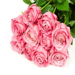 Fresh 10 Pink Roses In Bouquet for Thanjavur