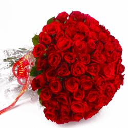 Fresh 100 Red Roses Bouquet with Cellophane Packing for Manipal