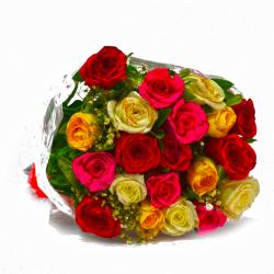 Fresh 20 Multi Color Roses Hand Bunch for Chandigarh